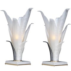 Pair of Rougier Style White Marbled Acrylic Floral Tulip Table Lamps