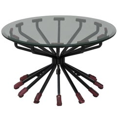 Coffee Table with Glass Top, Steel Legs and 12 Leather Trim Legs by Dan Wenger
