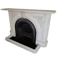 19th Century Large Victorian Arched Carrara Marble Chimney Piece