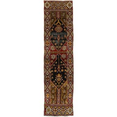 Distressed Antique Turkish Oushak Hallway Runner with Artisan Tribal Style