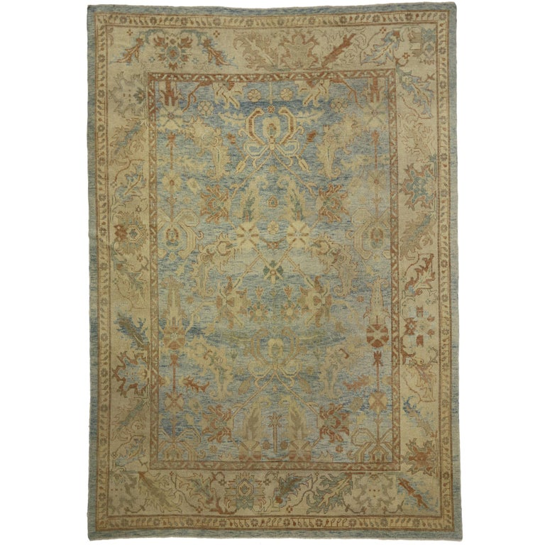 Modern Oushak Rug: Modern Turkish Oushak Rug With Transitional Style In