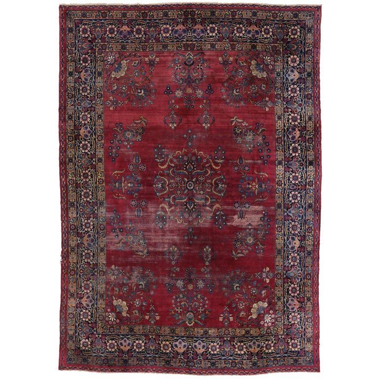 Distressed Antique Kerman Persian Rug With Traditional Modern Style For