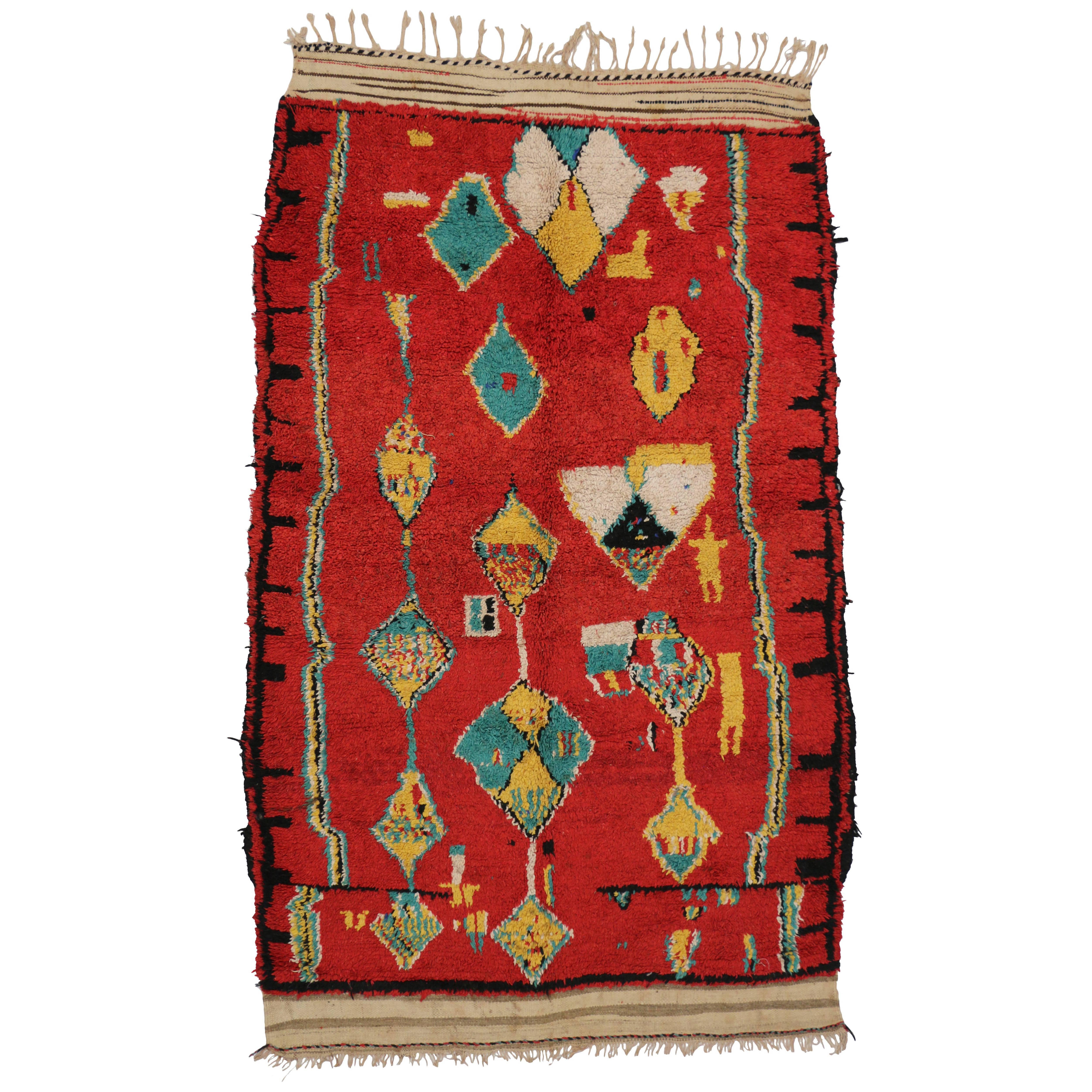 Vintage Red Moroccan Rug, Modern Tribal Style Berber Moroccan Rug