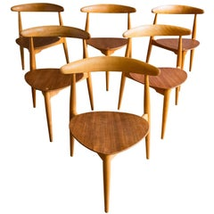 "Set of Six ""Heart"" Chairs by Hans Wegner for Fritz Hansen"