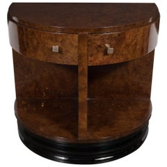Demilune Side Table in Carpathian Elm by Donald Deskey for Widdicomb Co.