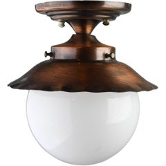 Exterior Copper Flush Mount with Globe
