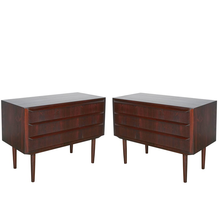 Midcentury Danish Night Stands by Larsen, Pair 1