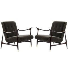 Pair of Sculptural Brazilian Lounge Chairs in Mohair