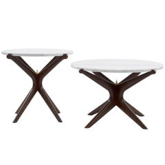 Set of Complementing Walnut Gazelle Coffee Tables