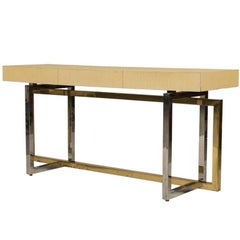 Paul Evans Style Chrome and Brass Based Console Table or Sideboard