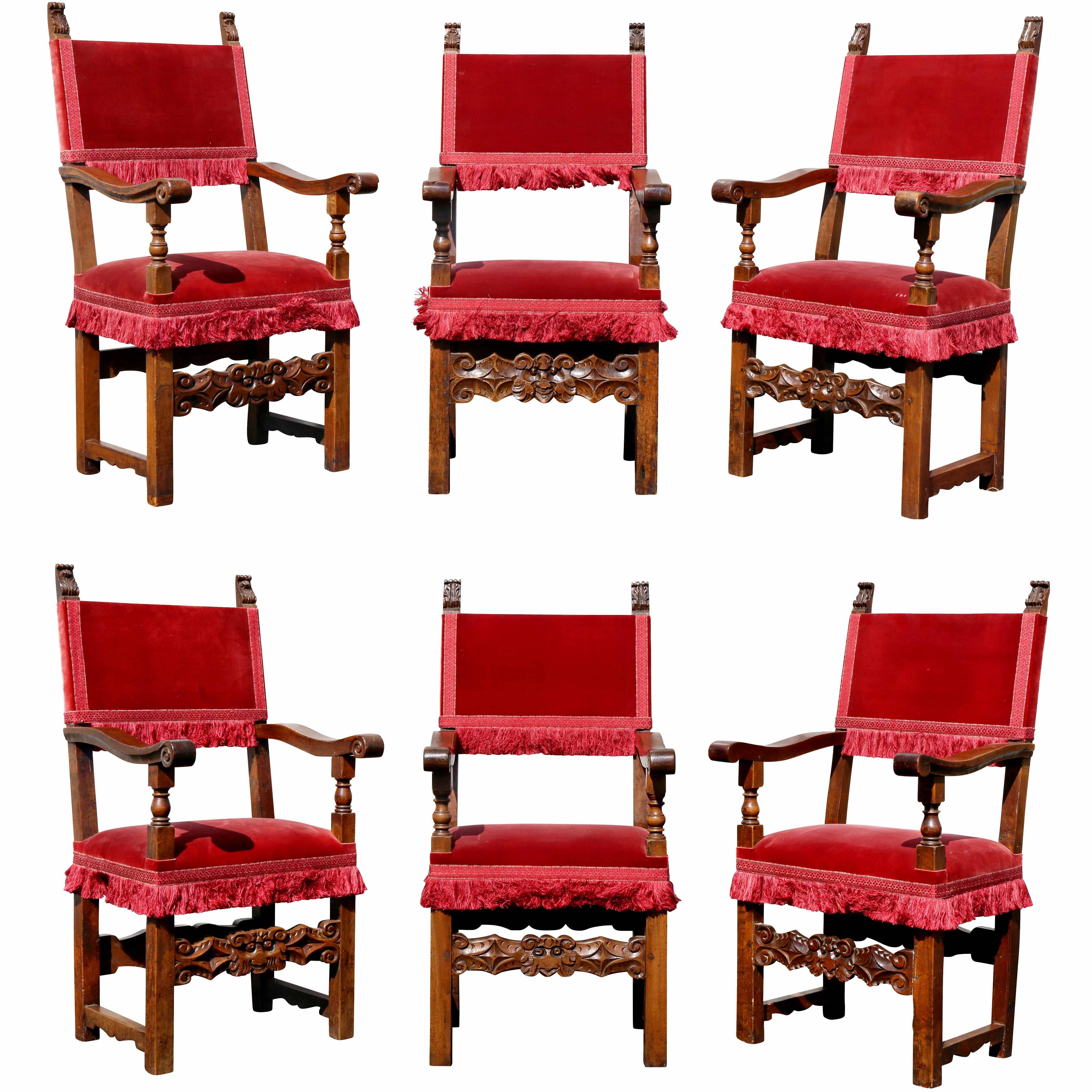 Assembled Set of Six Italian Baroque Walnut Dining Chairs