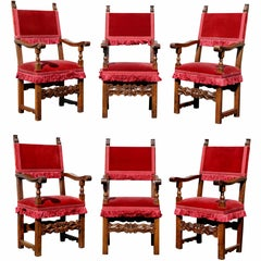 Assembled Set of Six Italian Baroque Walnut Dining Chairs