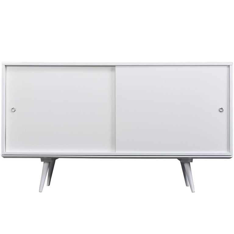 White Lacquer Paul McCobb Planner Group for Winchendon Credenza Buffet Cabinet