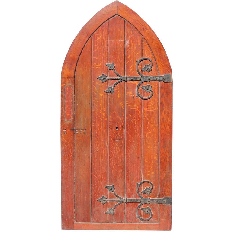 Antique Arched Oak Doors with Painted Pine Frames