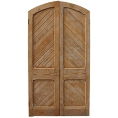 Pair of Antique Stripped Pine Exterior Arched Double Doors