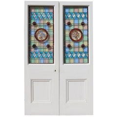 Pair of Victorian Painted Pine Stained Glass Doors