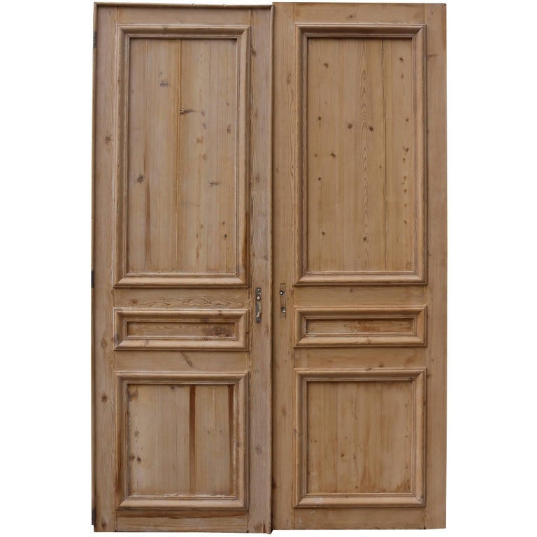 Pair of antique stripped pine french double doors for sale for Double french doors for sale