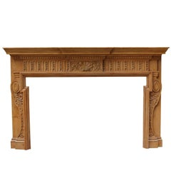 Antique Late 19th Century Carved Pine Chimneypiece