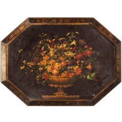 Late 18th Century Painted Octagonal Papier Mâché Tray