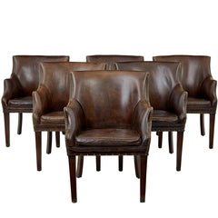 Set of Six 1960s Scandinavian Leather Tub Armchairs