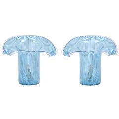 Italian 1970s Blue Murano Table Lamps