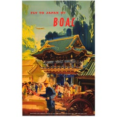 Original Vintage Travel Advertising Poster by Wootton - Fly to Japan by BOAC