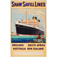 Original Shaw Savill Lines Poster for England South Africa Australia New Zealand