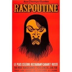 Original Vintage Poster for Raspoutine Restaurant Cabaret Russe Paris - Rasputin