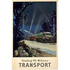 Original Vintage British WWII Food Convoy Poster - Feeding 45 Millions Transport