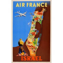Original Vintage Colourful Travel Map Poster by Renluc for Air France Israel
