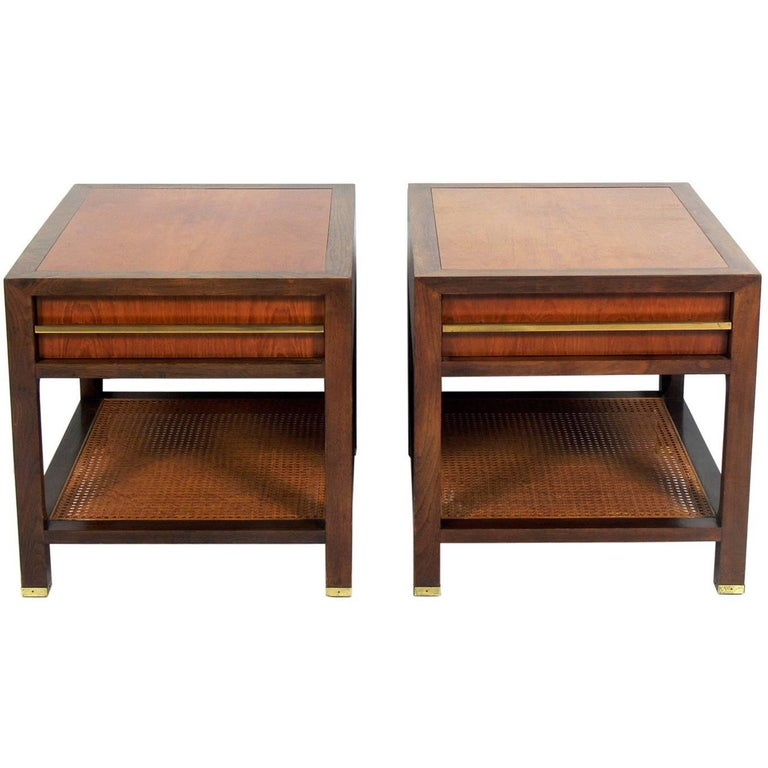 Pair of Clean Lined End Tables by Michael Taylor for Baker