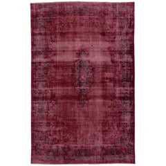 Distressed and Overdyed Vintage Persian Burgundy Rug with Modern Style