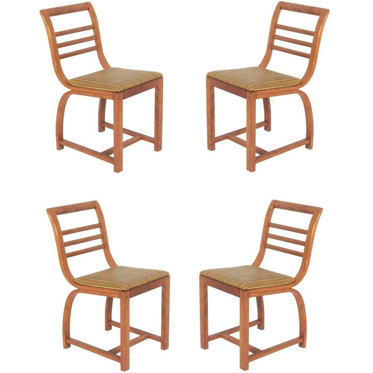 Set of Four Curvaceous Art Deco Dining Chairs by Gilbert Rohde