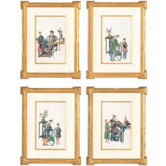 Chinese Silk Figure Paintings, Set of Four