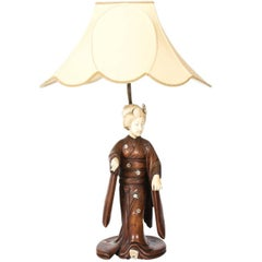 19th Century Carved Japanese Figure Lamp