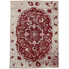 Distressed Vintage Persian Overdyed Red and Ivory Area Rug