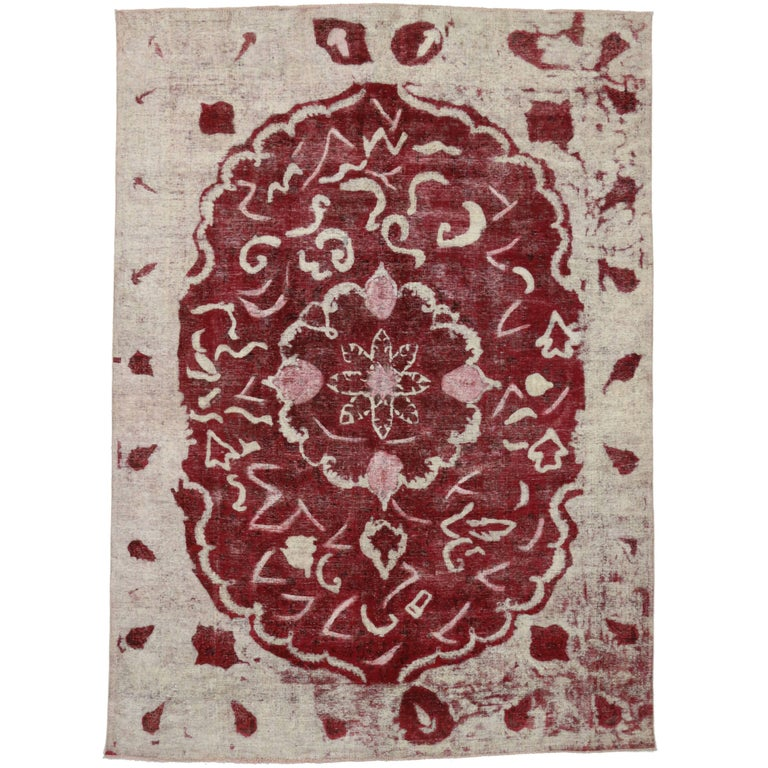 Distressed And Overdyed Farmhouse Feminine Area Rug With Shabby Chic Style For