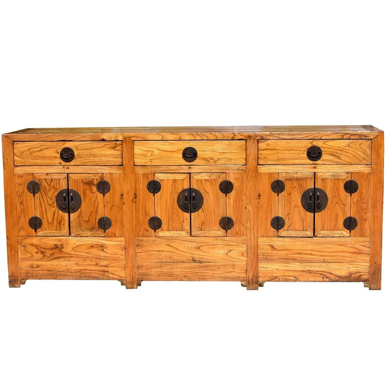 Antique Solid Elm Wood Sideboard Natural Finish Northern Chinese