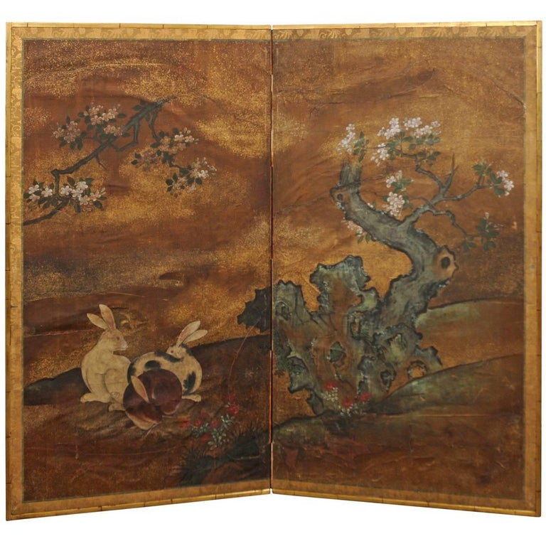 18th-19th Century Japanese Two-Panel Screen with Rabbits