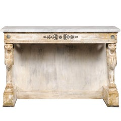 19th Century Gilt First Empire Style Console with Lion Legs