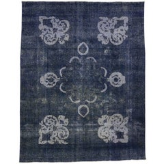 Distressed Vintage Persian Rug Overdyed in Blue