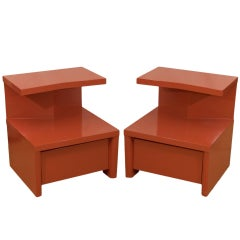 Pair of Cantilevered Red Lacquer Nightstands