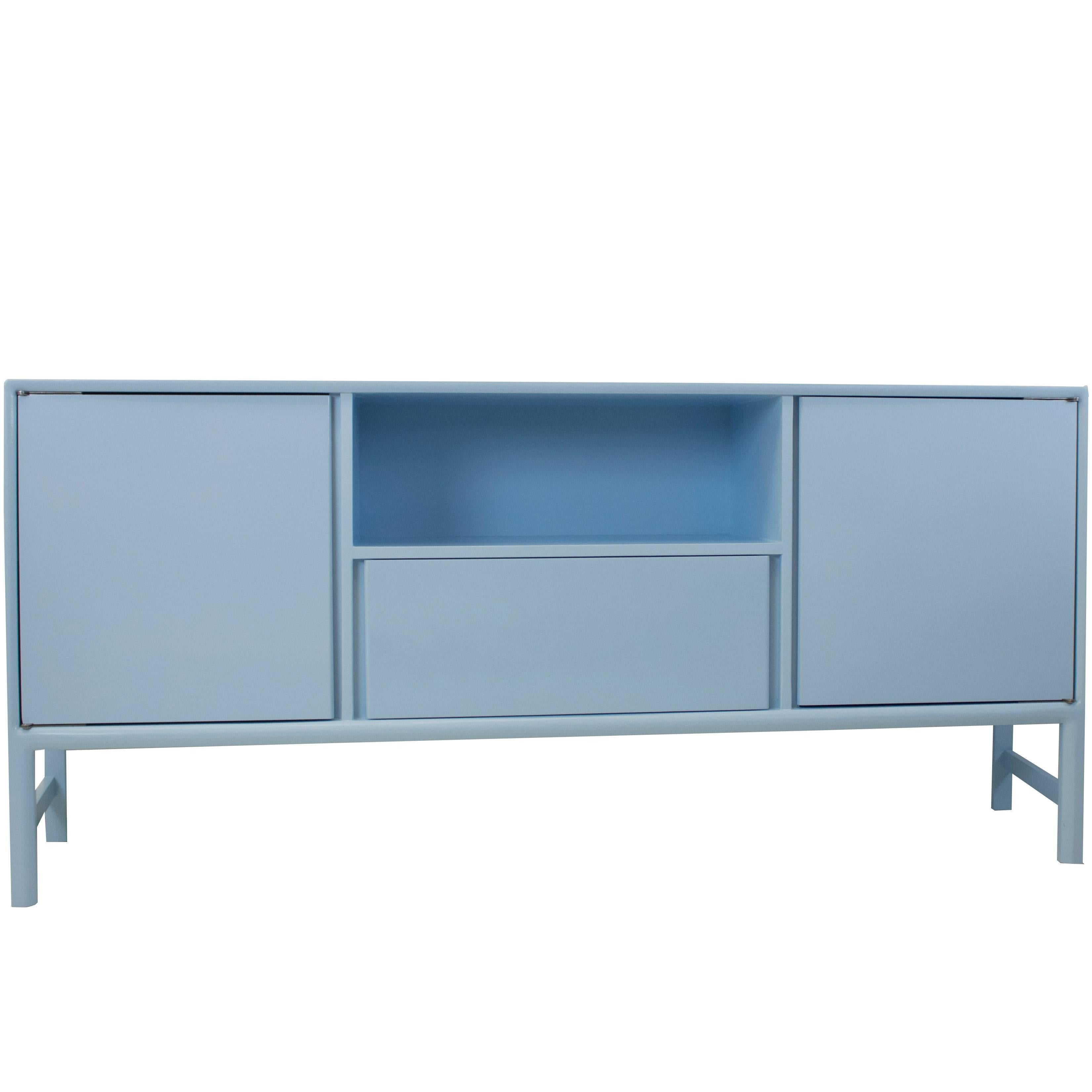 Modern Large Blue Lacquered Sideboard