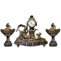 Antique Three-Piece Clock and Urn French Louis XVI Signed Garniture