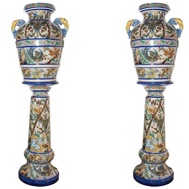 Pair of Hand-Painted Italian Ceramic/Majolica Large Urns with Matching Pedestal