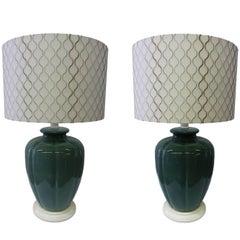 Pair of Emerald Green Ceramic Table Lamps