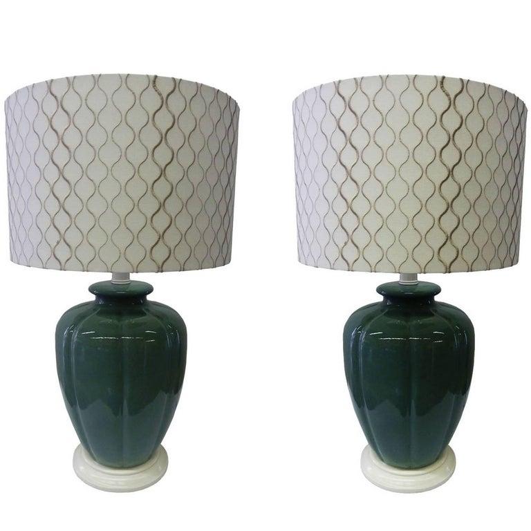 Pair of Emerald Green Ceramic Table Lamps 1