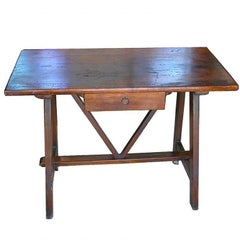 19th Century Tuscan Trestle Chestnut Table