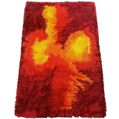 Vintage Mid-Century Modern Red Orange Rya Rug