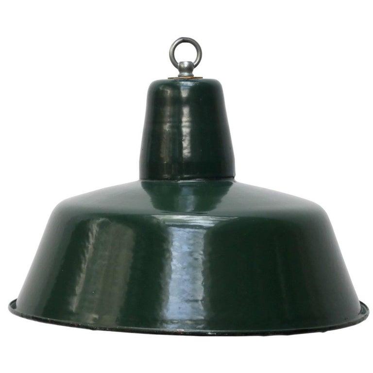 Industrial Pendant Light Green: Dark Green Vintage Enamel Industrial Pendant Hanging